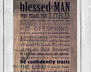 Bible Verse, Father's Day, Scripture art, Psalm 112, Rustic, Wood ...