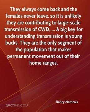 Nancy Mathews - They always come back and the females never leave, so ...