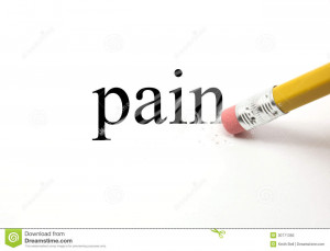 The word Pain written on white with the end of a pencil erasing the ...