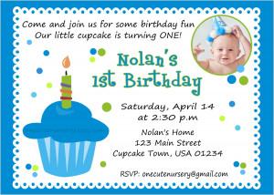 Sweet Cupcake Boy First Birthday Invitation First Birthday Invitation ...