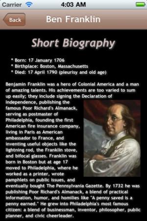 Download Benjamin Franklin Quotes Bobblehead iPhone iPap iOS