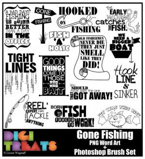 Gone Fishing Word Art, Fishing Sport Hobby, Scrapbooking, Card making ...