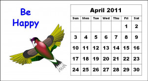 ... this Free Monthly Calendar 2011 April with cute cartoon bird animal