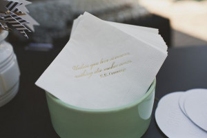 napkins with romantic quote.