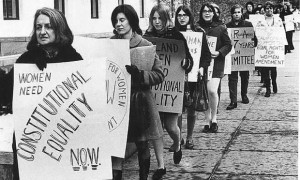 Betty Friedan leads a group of demonstrators outside a Congressional ...