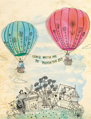 drawing #come with me #cute drawing #hot air balloons #cute