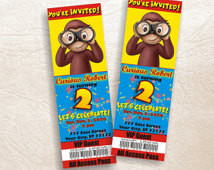 Curious George custom personalized ticket birthday invitations card ...