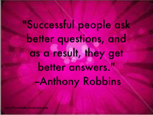 Tony Robbins quote about asking questions