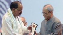 President presents 24th Saraswati Samman to Veerappa Moily
