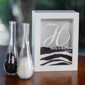 Home / White Unity Sand Ceremony Shadow Box with Side Vases