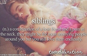 Siblings (n,) A combination of a best friend and a pain in the neck ...