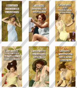 Digital Collage Sheet Slides Sarcastic Women 1 X 2 Dominos (Sheet no ...