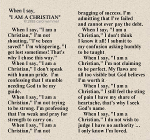 Christianity When I say I am a Christian Poem