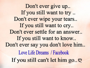 Don't ever give up...