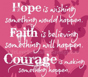 Quotes About Life And Success: Hope Is Wishing Something Would Happen ...