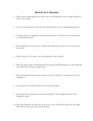 Macbeth Act 5 Questions and Quotes