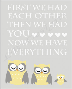 Gray and Yellow Owl Nursery Quote Print - 8x10