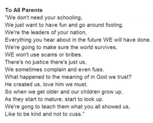 Parents Day Poems Thank You: To All Parents Is A Lovely Poem From Kids ...