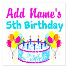 HAPPY 5TH BIRTHDAY 5.25 x 5.25 Flat Cards for