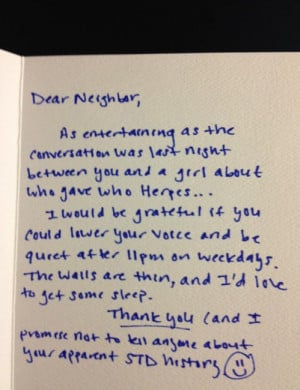 funny dear neighbor note loud conversation herpes