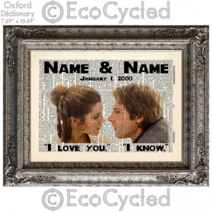 Princess Leia Han Solo Star Wars w/ Names & Date I Love You I Know ...