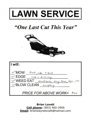 edited the flyer title to lawn care over lawn service