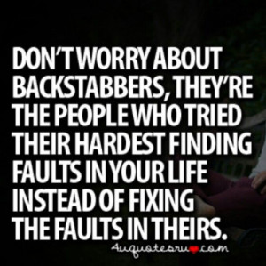 Backstabbing Haters quote