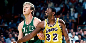 Magic Johnson was injured in one match up with the Celtics, but that ...