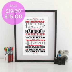 Focus and Simplicity Art Print- Steve Job famous quote- Inspiring ...