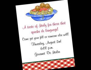 10 Italian Spaghetti Dinner Birthday Party Invitations or Printable ...