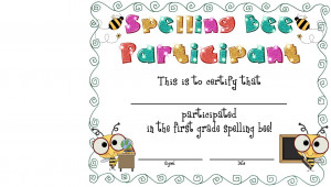 Spelling Bee Award Certificates Free