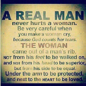 REAL MAN won't hurt his Wife.