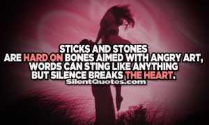 ... Angry Art, Words Can Sting Like Anything But Silence Breaks The Heart