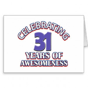 31 year old birthday designs and gifts card