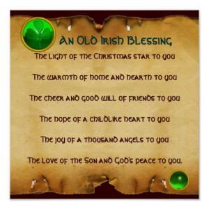 An Old Irish Christmas Blessing Parchment, Square Posters