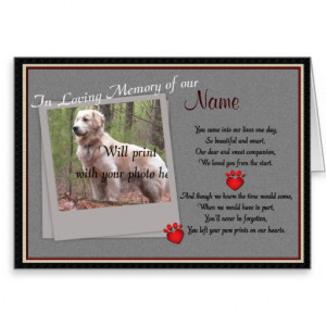 pet loss memorial card announcing the loss of your beloved pet ...