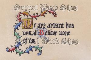 Original Illuminated Manuscript - Quote from Hamlet