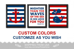 bible quotes nautical nursery poster nautical kid art nursery decor ...