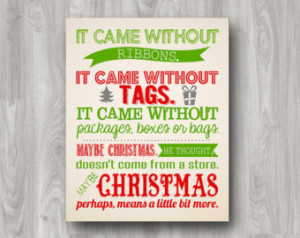 How The Grinch Stole Christmas Prin table Quote - Available in ...