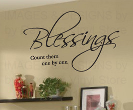 ... Wall Sticker Art Inspirational Christian Decal Count Blessings One R23