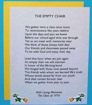 ... Empty Chairs, Schools Reunions, Class Reunions Ideas, Tables Decor