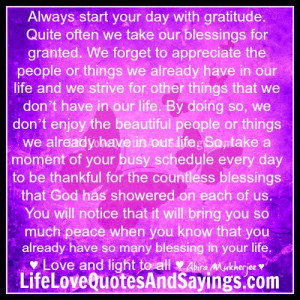 Always start your day with gratitude...