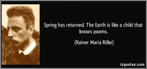 ... . The Earth is like a child that knows poems. - Rainer Maria Rilke