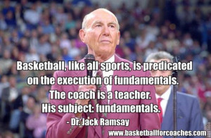 "... coach is a teacher. His subject: fundamentals"" – Dr Jack Ramsay"