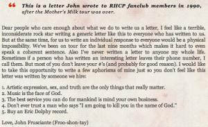 "Red Hot Chili Peppers - John Frusciante Handwritten ""Band Statement ..."