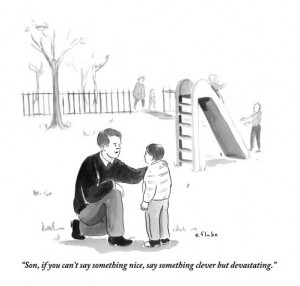Comic: Father giving son advice at a playground -