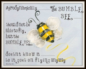Bumble Bee Honey Bee print quote text blue yellow by AdoraArt, $10.00