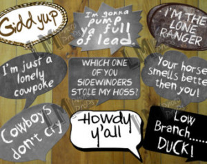 Cowboy or Western Theme Photo Booth Props Includes 9 Sayings: Howdy Ya ...