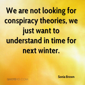 We are not looking for conspiracy theories, we just want to understand ...