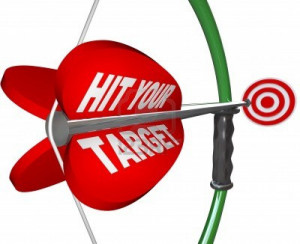 9596878-an-arrow-with-the-words-hit-your-target-is-pulled-back-on-the ...